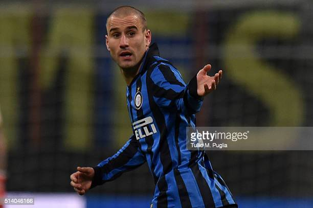Rodrigo Palacio of Inter in action during the Serie A match between FC Internazionale Milano and US Citta di Palermo at Stadio Giuseppe Meazza on...