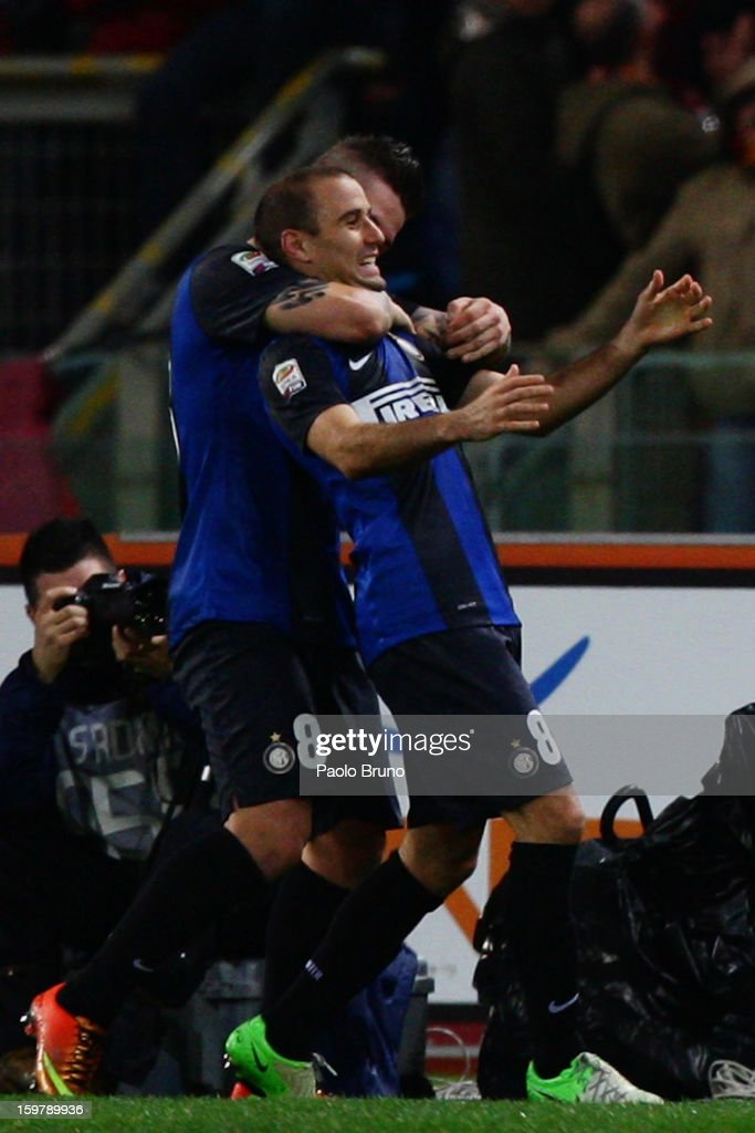 Rodrigo Palacio (R) with his teammate of FC Internazionale Milano celebrates after scoring the first team's goal during the Serie A match between AS Roma and FC Internazionale Milano at Stadio Olimpico on January 20, 2013 in Rome, Italy.