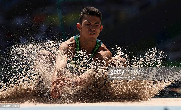 Rodrigo Parreira da Silva of Brazil competes in the Men's Long Jump T36 heat two at Olympic Stadium during day 5 of the Rio 2016 Paralympic Games on...