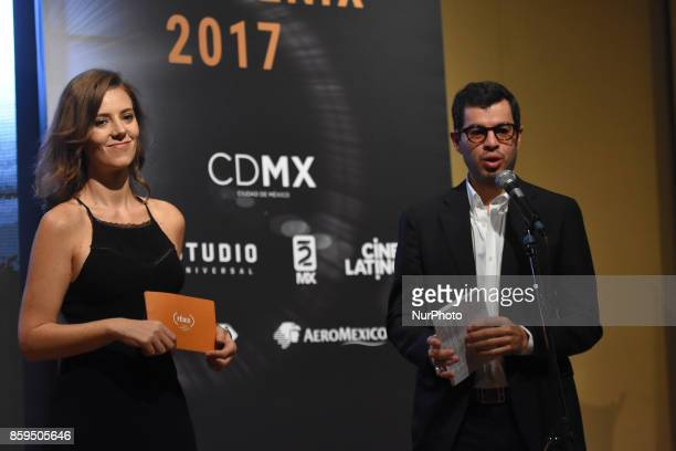 Rodrigo Penafiel and actress Johanna Murillo are seen during a press conference to promote Fenix Film Awards 2017 on October 09 2017 in Mexico City...