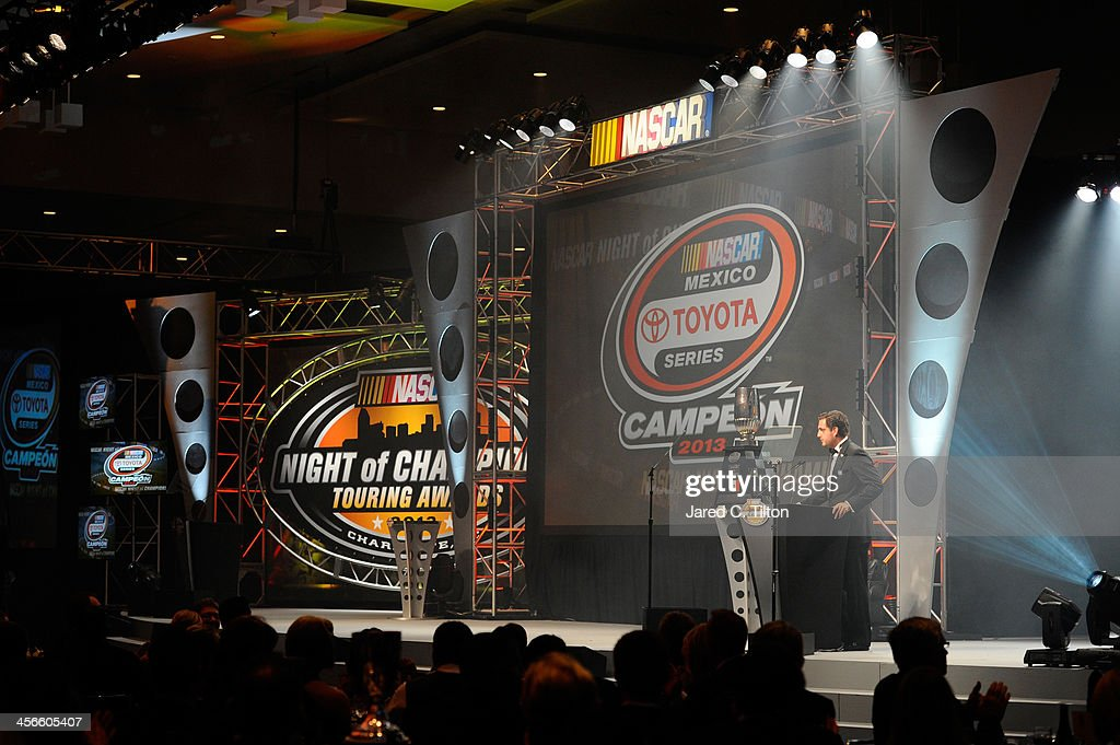 Rodrigo Peralta, NASCAR Mexico Toyota Series Champion, speaks during the NASCAR Night of Champions at Charlotte Convention Center on December 14, 2013 in Charlotte, North Carolina.