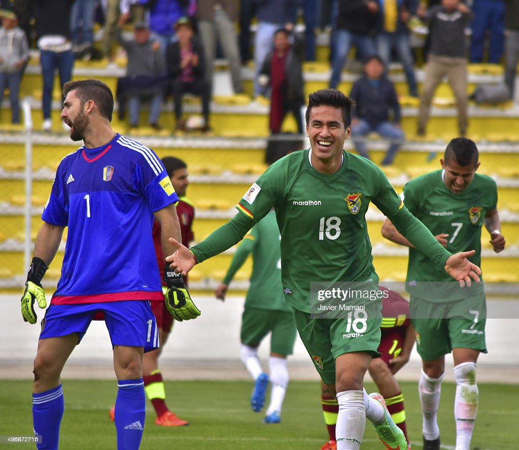 Rodrigo Ramallo of Bolivia celebrates after scoring the third goal of his team during a match between Bolivia and Venezuela as part of FIFA 2018...