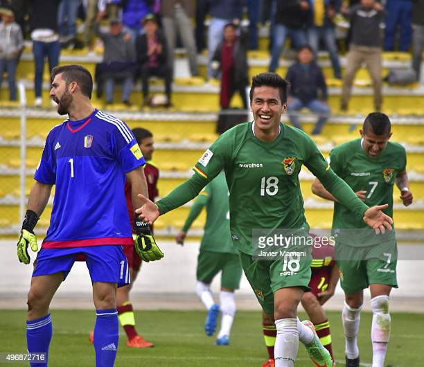 Rodrigo Ramallo of Bolivia celebrates after scoring the third goal of his team during a match between Bolivia and Venezuela as part of FIFA 2018...