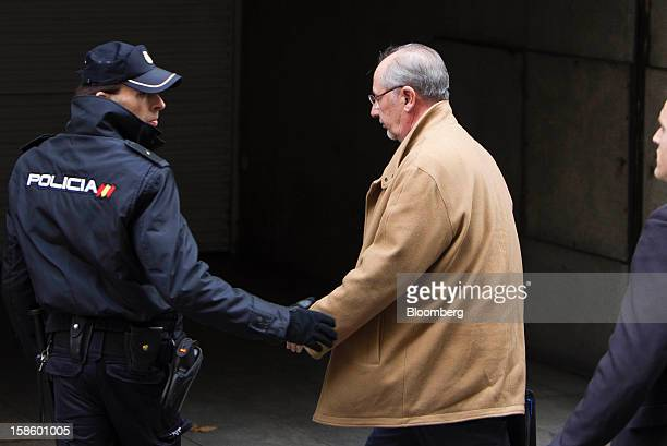 Rodrigo Rato a former managing director of the International Monetary Fund and exchairman of Bankia Group center arrives to testify at the national...