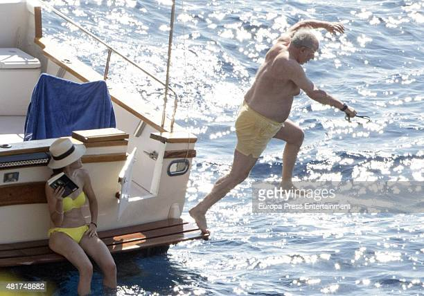Rodrigo Rato and Alicia Gonzalez are seen on July 23 2015 in Mallorca Spain