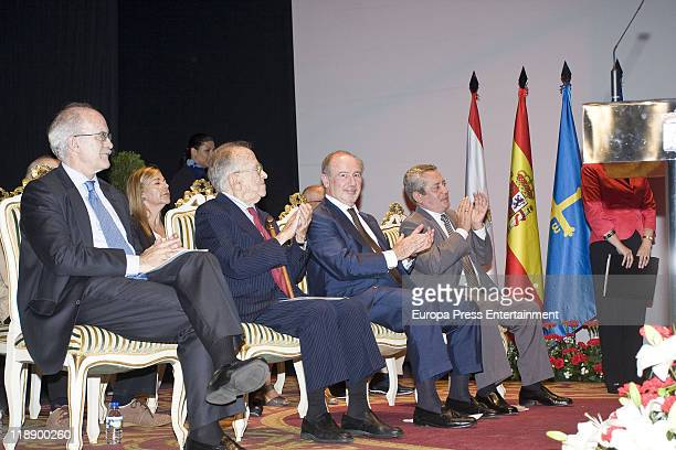 Rodrigo Rato Ex president of International Monetary Fund and Santiago Carrillo are honoured 'Predilect Son of the City of Gijon' at 'Ciudad de la...