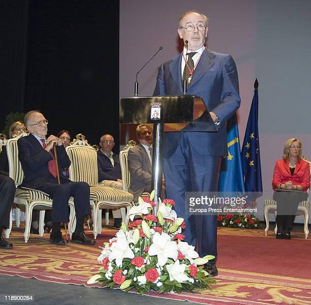 Rodrigo Rato Ex president of International Monetary Fund is honoured 'Predilect Son of the City of Gijon' at 'Ciudad de la Cultura' Theatre on June...
