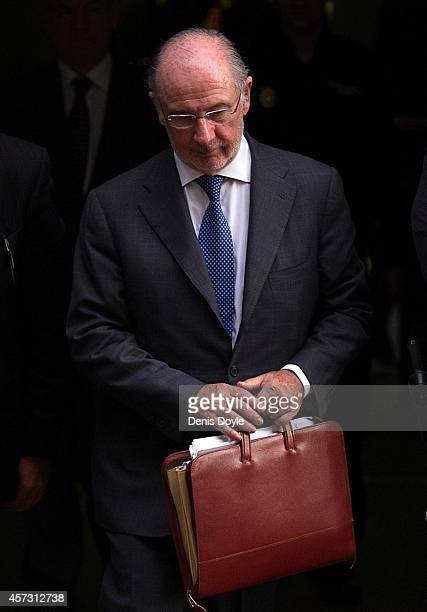 Rodrigo Rato former chairman of rescued bank Bankia and former head of the International Monetary Fund leaves Madrid's High Court where he answered...