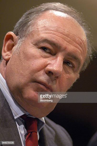 Rodrigo Rato managing directordesignate of the International Monetary Fund listens during his first news conference in Washington DC since being...