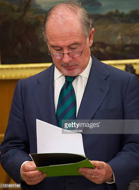 Rodrigo Rato President of Bankia attends an official audience with King Juan Carlos of Spain at Zarzuela Palace on May 10 2011 in Madrid Spain
