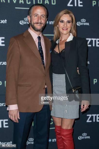 Rodrigo Rivera and Chantal Andere pose during the red carpet of the play 'Privacidad' at Teatro de los Insurgentes on October 12 2017 in Mexico City...