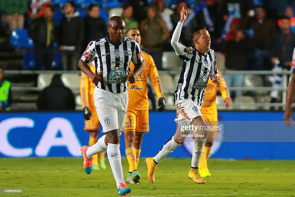Rodrigo Salinas of Pachuca celebrates after scoring the first goal of his team during a quarterfinal first leg match between Pachuca and Tigres as...