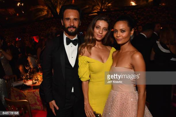 Rodrigo Santoro Angela Sarafyan and Thandie Newton attends the HBO's Official 2017 Emmy After Party at The Plaza at the Pacific Design Center on...