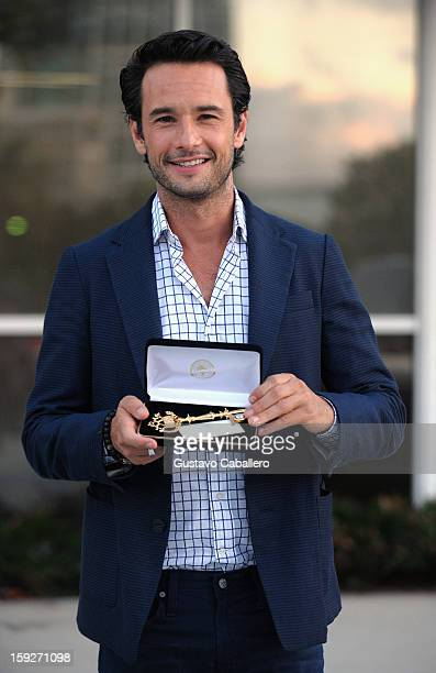 Rodrigo Santoro receive a key to the City of Miami at City Hall while in Miami to promote their film 'The Last Stand' on January 10 2013 in Miami...