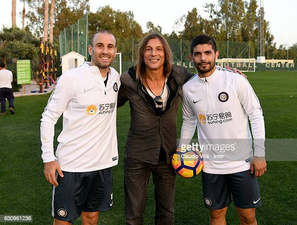 Rodrigo Sebastian Palacio Claudio Caniggia and Ever Banega pose for a photo during a FC Internazionale training session at Marbella Football Center...