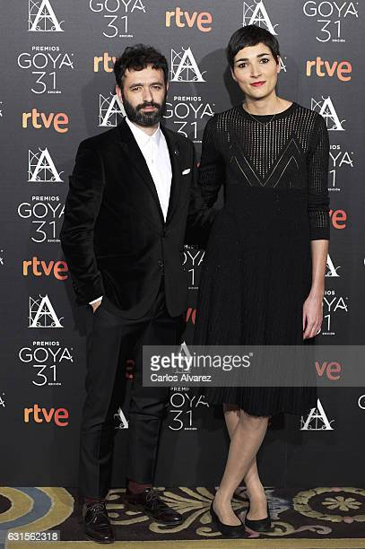 Rodrigo Sorogoyen and Isabel Pena attend the Goya cinema awards candidates 2016 cocktail at the Ritz Hotel on January 12 2017 in Madrid Spain