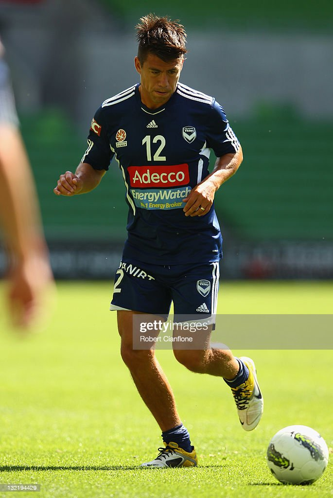 <a gi-track='captionPersonalityLinkClicked' href=/galleries/search?phrase=Rodrigo+Vargas&family=editorial&specificpeople=793290 ng-click='$event.stopPropagation()'>Rodrigo Vargas</a> of the Victory controls the ball during a Melbourne Victory A-League training session at AAMI Park on November 11, 2011 in Melbourne, Australia.