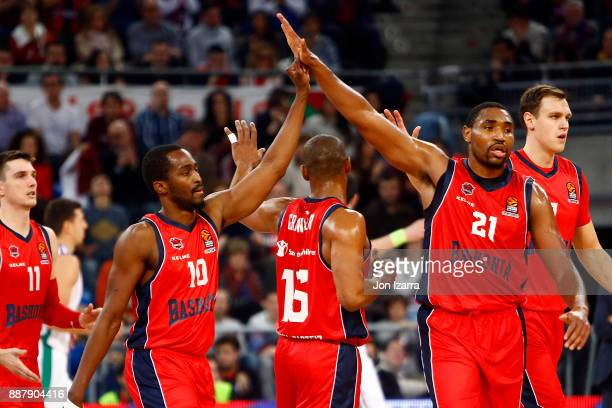 Rodrigue Beaubois #10 of Baskonia Vitoria Gasteiz celebrates with Kevin Jones #21 of Baskonia Vitoria Gasteiz during the 2017/2018 Turkish Airlines...