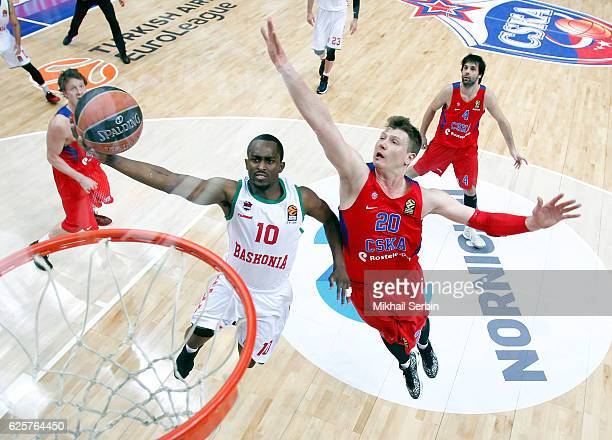 Rodrigue Beaubois #10 of Baskonia Vitoria Gasteiz competes with Andrey Vorontsevich #20 of CSKA Moscow in action during the 2016/2017 Turkish...
