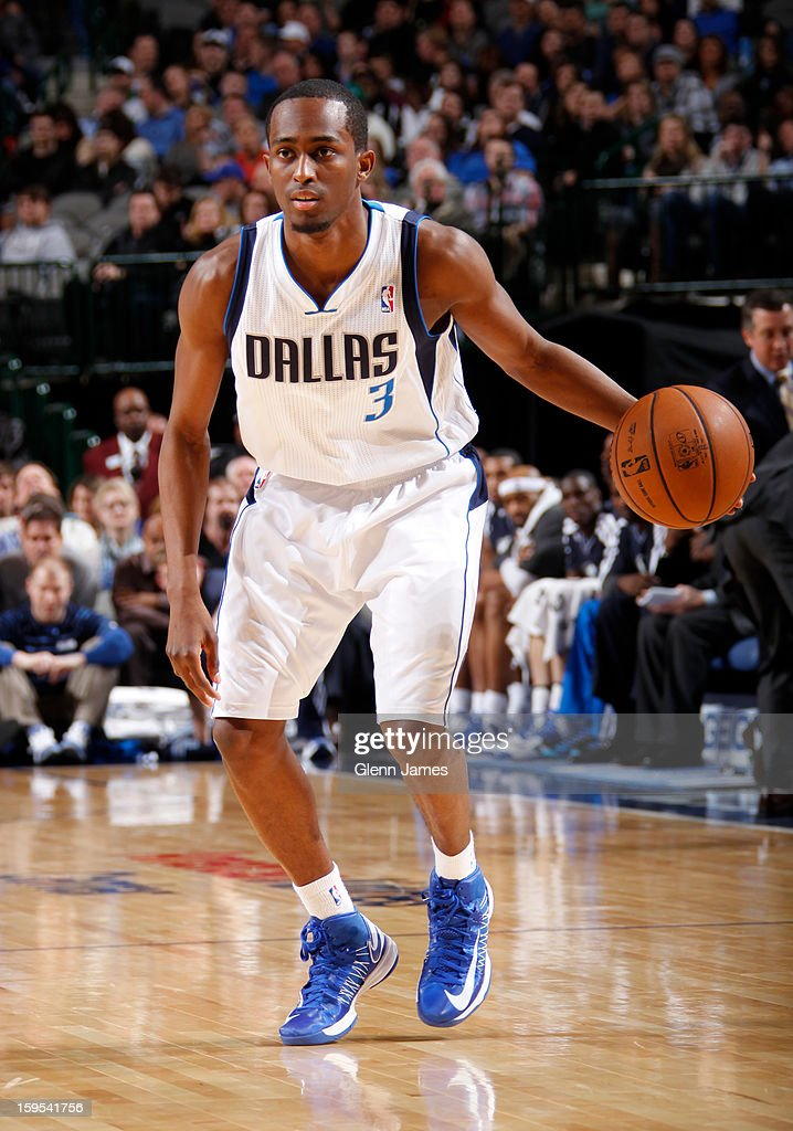 <a gi-track='captionPersonalityLinkClicked' href=/galleries/search?phrase=Rodrigue+Beaubois&family=editorial&specificpeople=5299423 ng-click='$event.stopPropagation()'>Rodrigue Beaubois</a> #3 of the Dallas Mavericks brings the ball up the court against the Minnesota Timberwolves on January 14, 2013 at the American Airlines Center in Dallas, Texas.