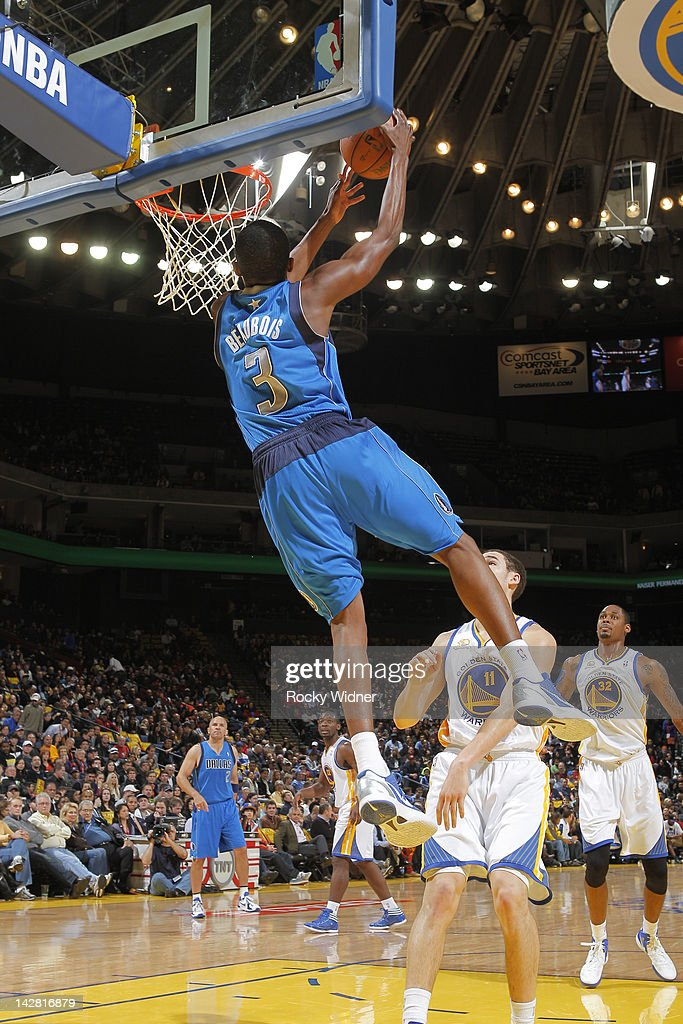 <a gi-track='captionPersonalityLinkClicked' href=/galleries/search?phrase=Rodrigue+Beaubois&family=editorial&specificpeople=5299423 ng-click='$event.stopPropagation()'>Rodrigue Beaubois</a> #3 of the Dallas Mavericks dunks the ball against the Golden State Warriors on April 12, 2012 at Oracle Arena in Oakland, California.