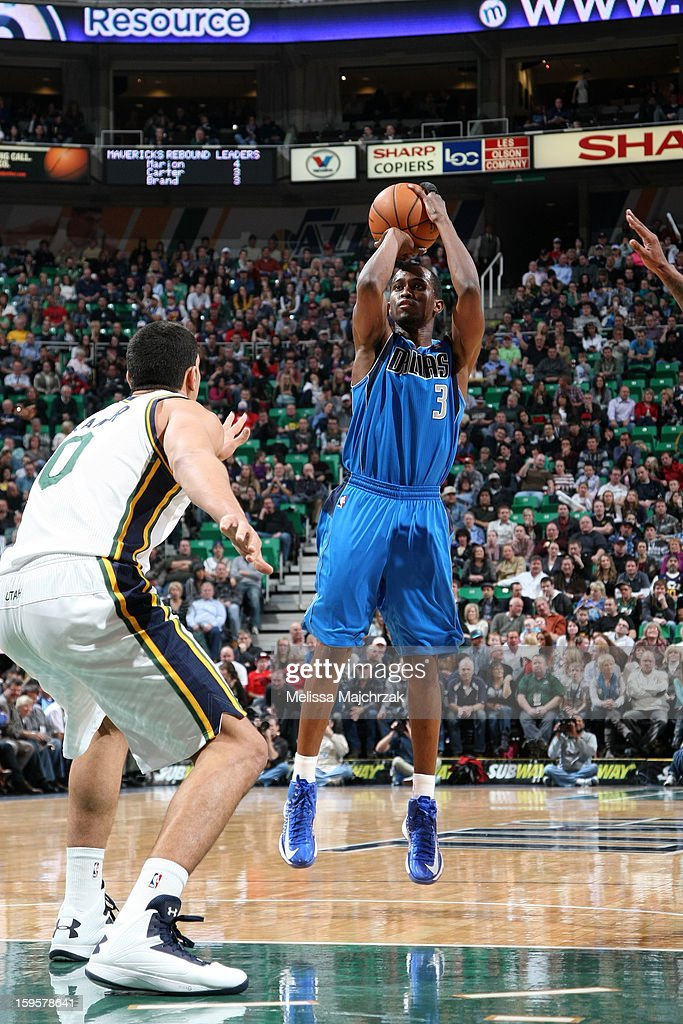 <a gi-track='captionPersonalityLinkClicked' href=/galleries/search?phrase=Rodrigue+Beaubois&family=editorial&specificpeople=5299423 ng-click='$event.stopPropagation()'>Rodrigue Beaubois</a> #3 of the Dallas Mavericks shoots the ball against the Utah Jazz on January 7, 2013 in Salt Lake City, Utah.
