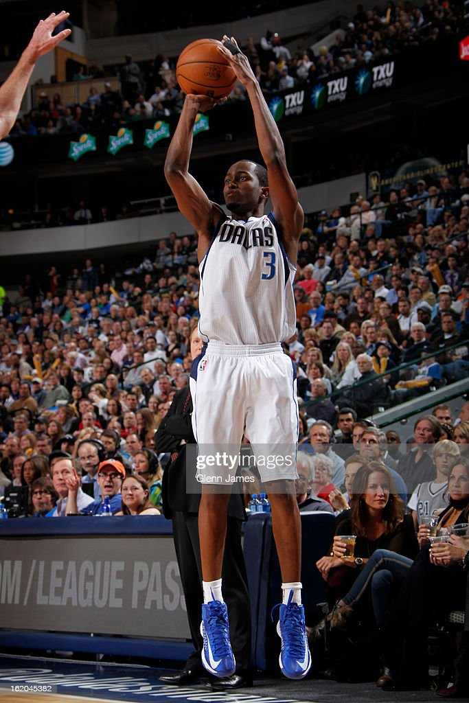 Rodrigue Beaubois #3 of the Dallas Mavericks takes a shot against the San Antonio Spurs on January 25, 2013 at the American Airlines Center in Dallas, Texas.