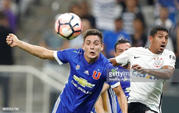 Rodrigues of Chile's Universidad de Chile in action during the Copa Sudamericana match between Corinthians and Universidad Chile at the Arena...