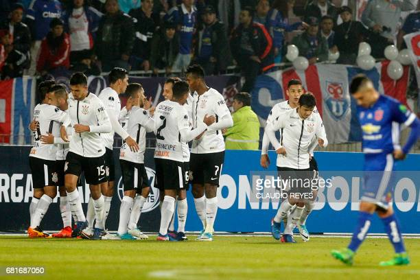 Rodriguinho of Brazil's Corinthians celebrates with teammates after scoring against Chile's Universidad de Chile during their Copa Sudamericana...