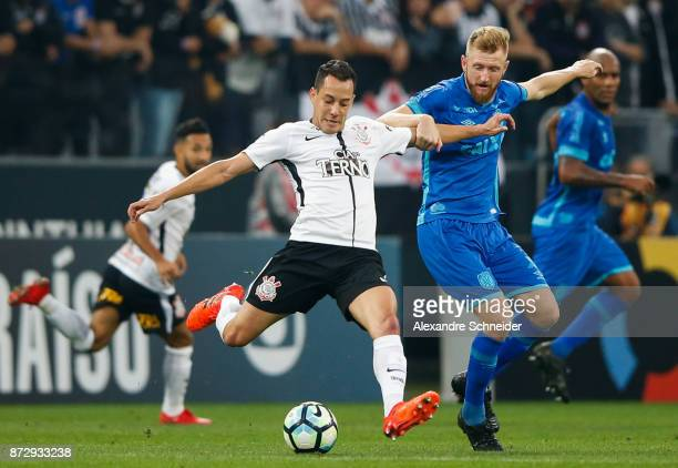 Rodriguinho of Corinthians and Douglas of Avai in action during the match between Corinthians and Avai for the Brasileirao Series A 2017 at Arena...