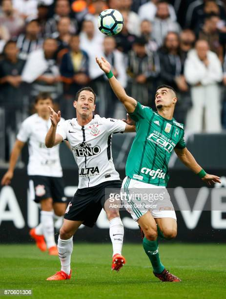 Rodriguinho of Corinthians and Egydio of Palmeiras in action during the match between Corinthians and Palmeiras for the Brasileirao Series A 2017 at...