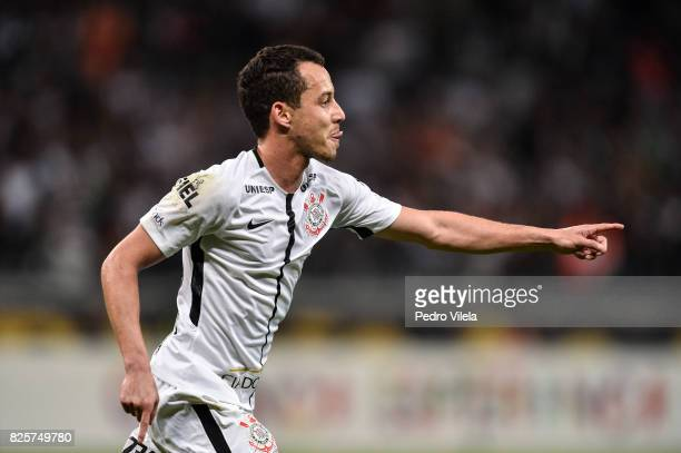 Rodriguinho of Corinthians celebrates a scored goal against Atletico MG during a match between Atletico MG and Corinthians as part of Brasileirao...