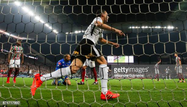 Rodriguinho of Corinthians celebrates their third goal during the match against Fluminense for the Brasileirao Series A 2017 at Arena Corinthians...