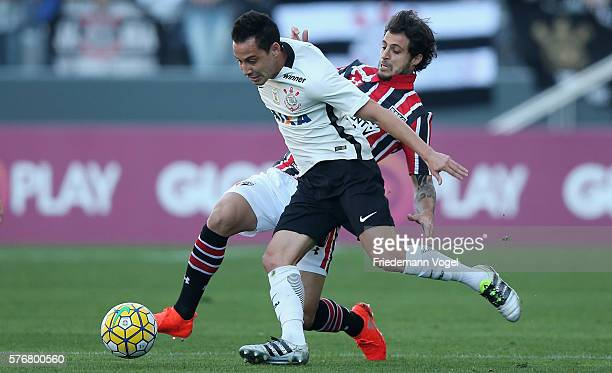 Rodriguinho of Corinthians fights for the ball with Hudson of Sao Paulo during the match between Corinthians and Sao Paulo for the Brazilian Series A...