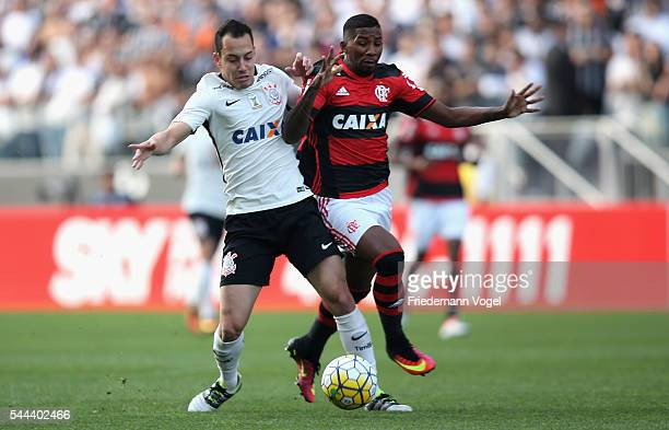 Rodriguinho of Corinthians fights for the ball with Rodinei of Flamengo during the match between Corinthians and Flamengo for the Brazilian Series A...