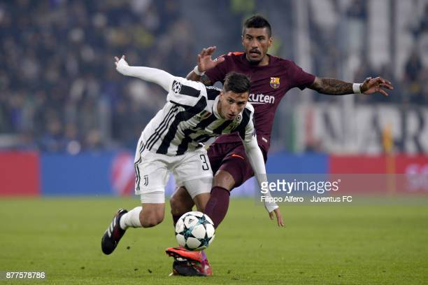 Rodriguo Bentancur of Juventus competes for the ball during the UEFA Champions League group D match between Juventus and FC Barcelona at Allianz...