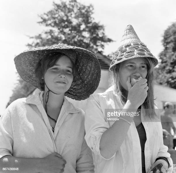 Roehampton swimming pool London These two young women with continental straw hats are Caroline Seeley aged 14 of Barnes and Ursula Main ages 14 of...
