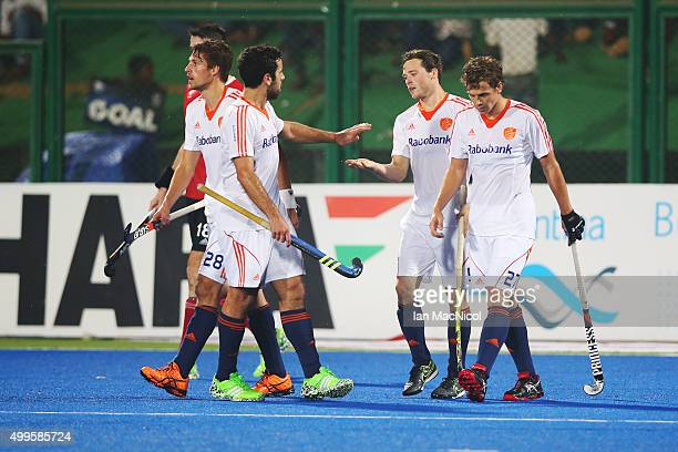Roel Bovendeert of Netherlands celebrates after he scores during the match between Netherlands and Canada on day sic of The Hero Hockey League World...