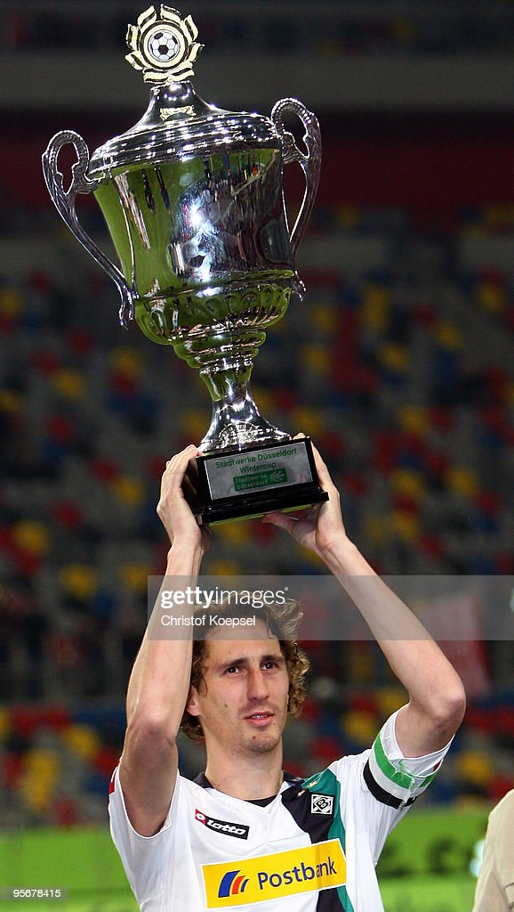 Roel Brouwers holds the winning trophee after winning 10 the Wintercup final match between Fortuna Duesseldorf and Borussia Moenchengladbach at the...
