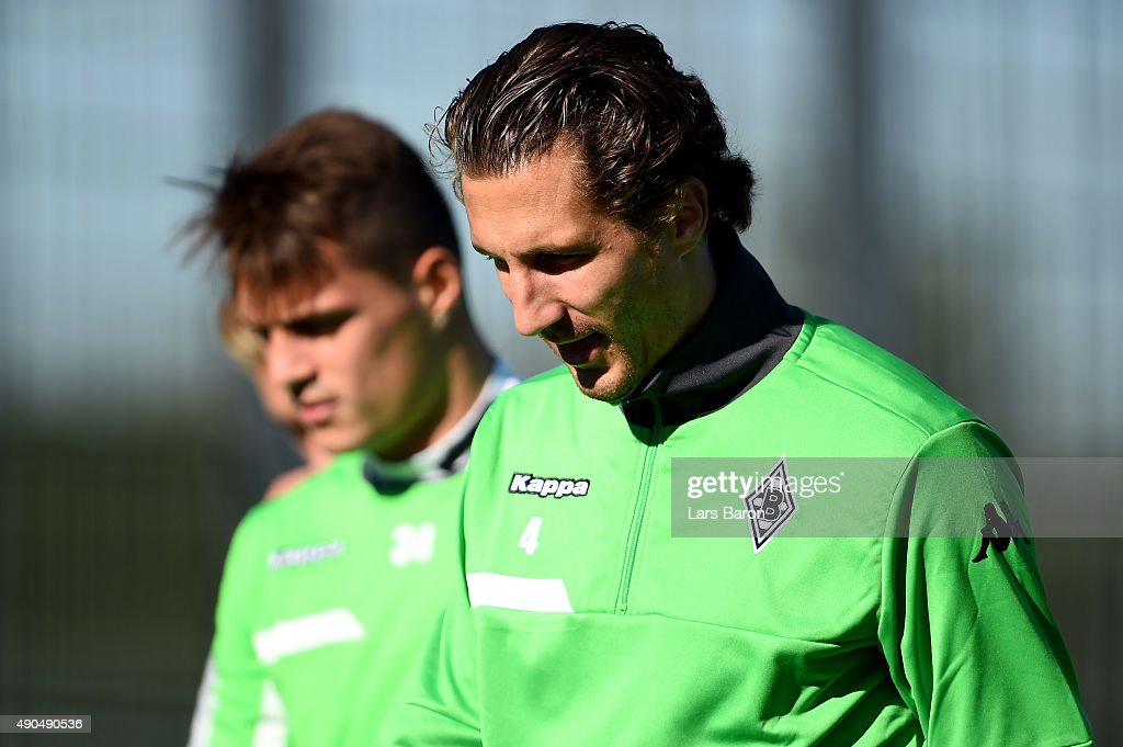 Roel Brouwers looks on during a Borussia Moenchengladbach training session on the eve of the UEFA Champions League groupe D match against Manchester...