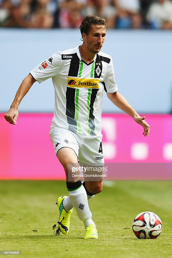 Roel Brouwers of Borussia Moenchengladbach controls the ball during the Telekom Cup 2014 third place match between Borussia Moenchengladbach and...
