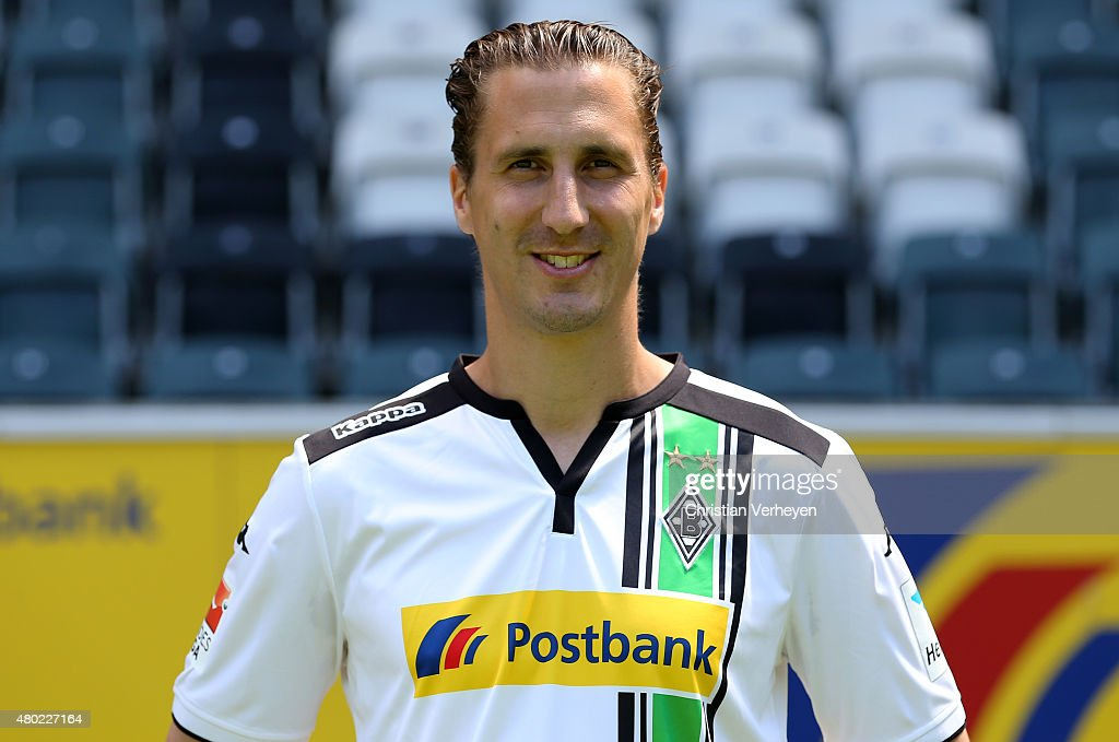 Roel Brouwers of Borussia Moenchengladbach poses during the Borussia Moenchengladbach team presentation at BorussiaPark on July 10 2015 in...