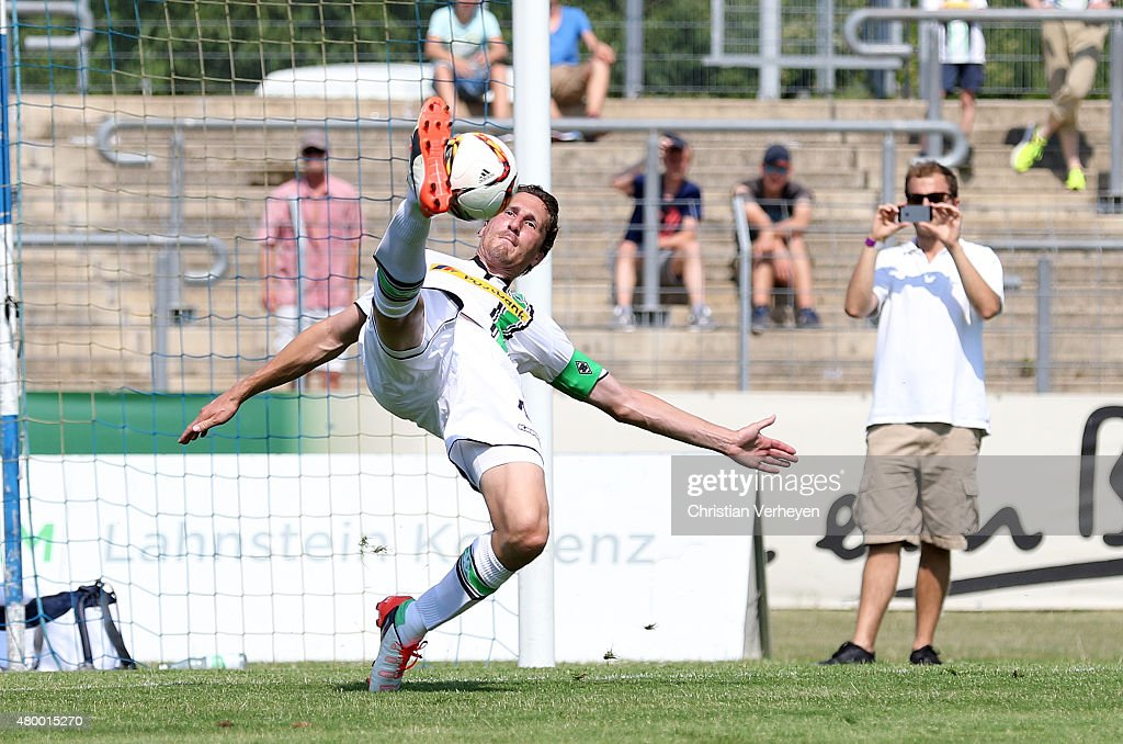 Roel Brouwers of Borussia Moenchengladbach with a overhead kick during the friendly match between TuS Koblenz and Borussia Moenchengladbach at...