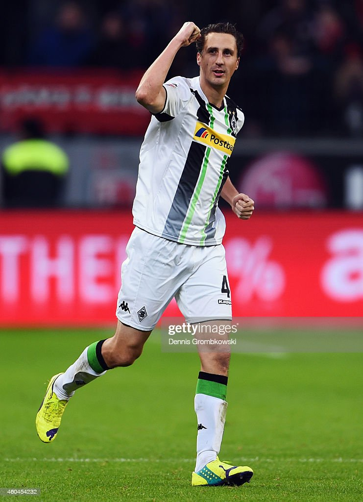 Roel Brouwers of Moenchengladbach celebrates his team's first goal during the Bundesliga match between Bayer 04 Leverkusen and Borussia...