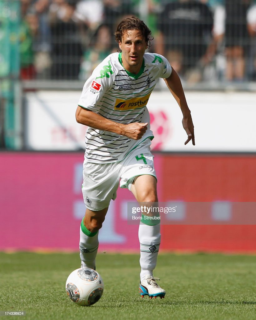 Roel Brouwers of Moenchengladbach runs with the ball during the Telekom Cup 2013 semifinal match between Borussia Moenchengladbach and Borussia...