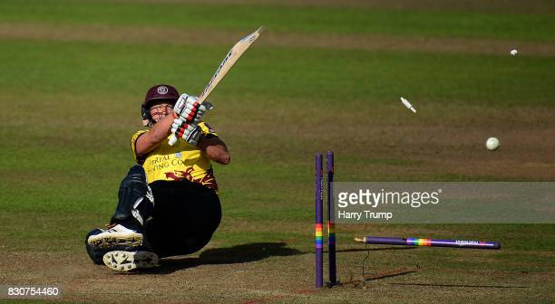 Roelof Van Der Merwe of Somerset is bowled by Callum Haggett of Kent during the NatWest T20 Blast match between Somerset and Kent at The Cooper...