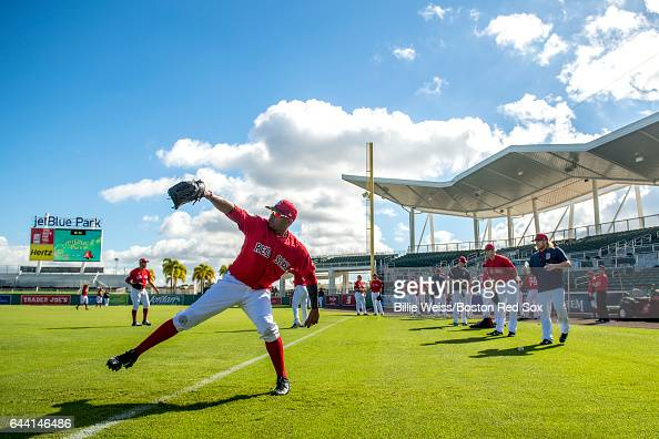 Roenis Elias of the Boston Red Sox warms up before a game against Northeastern University on February 23 2017 at Fenway South in Fort Myers Florida
