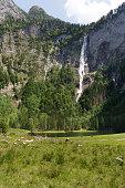 Roethbachfall waterfall near lake Obersee in Bavaria in summer