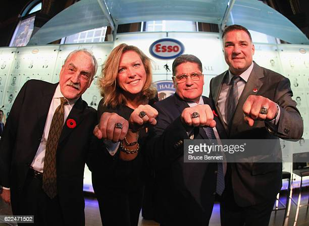 Rogatien Vachon Kalli Quinn representing the late Pat Quinn Sergei Makarov and Eric Lindros take part in a Hall of Fame Induction photo opportunity...