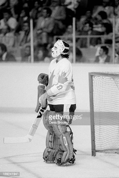 Rogatien Vachon of team Canada looks on from the goal during a game against the United States during a Canada Cup game at the Montreal Forum on...